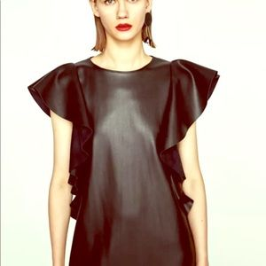 Zara faux lether tunic/mini dress size M ruffle
